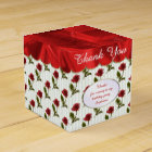 Personalise: Thank You -  Red Roses Pattern Favour Box