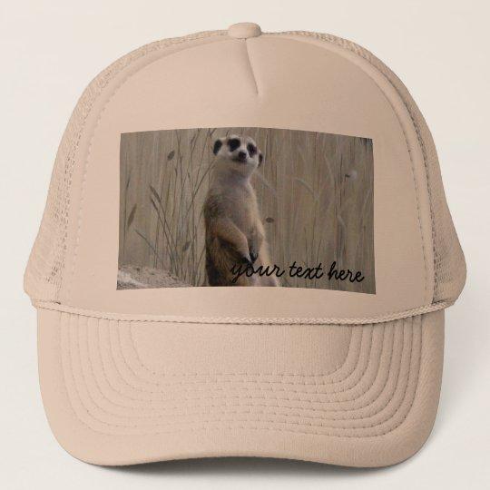 Personalise this cute meerkat trucker hat