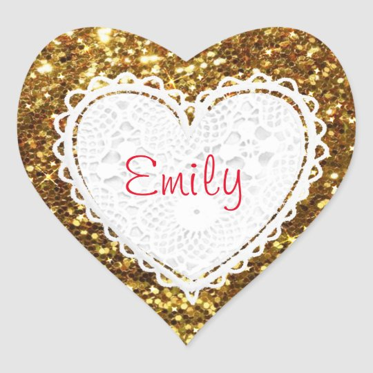 Personalise this Gold Glitter Heart Sticker