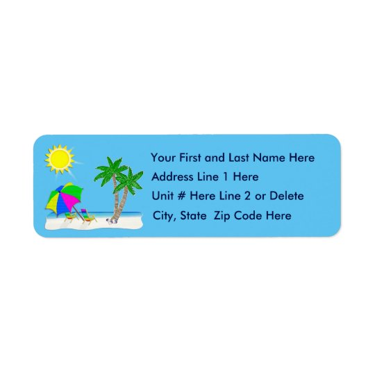 Personalise Tropical Beach Tropical Address Labels