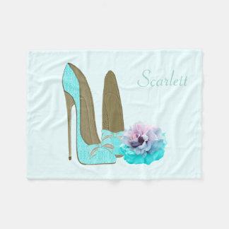 Personalise Turquoise Shoe & Rose Fleece Blanket
