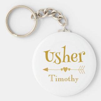 Personalise Usher Wedding Favour Gift Key Ring