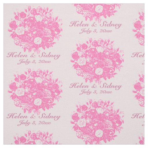 Personalise Wedding Fabric Pink Roses