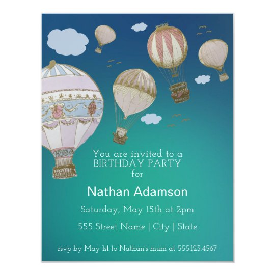 Personalise Whimsical Hot Air Balloons Card