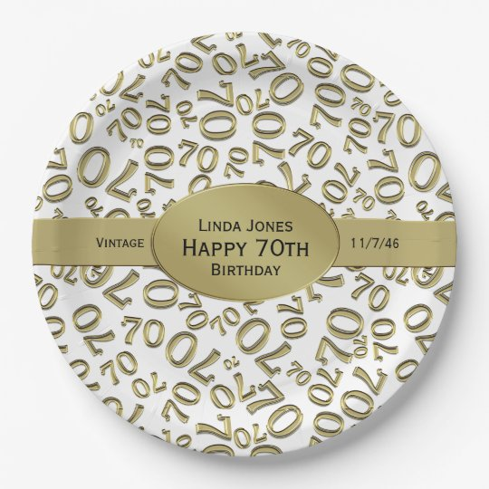 Personalise: White and Gold 70th Birthday Theme Paper