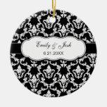 Personalise White on Black Damask Ornament