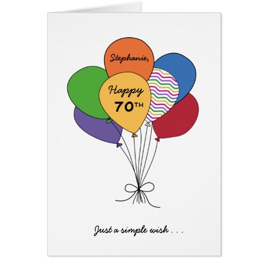 Personalise With Name~Happy 70th Birthday Wish Card