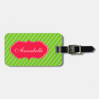 Personalise with Name Lime Green Stripes Design Luggage Tag