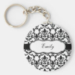 Personalise With Your Name Damask Keychain