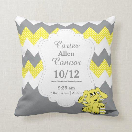 Personalise - Yellow Chevron Elephant Cushion
