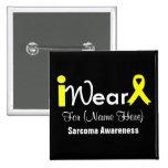 Personalise Yellow Ribbon Sarcoma 15 Cm Square Badge