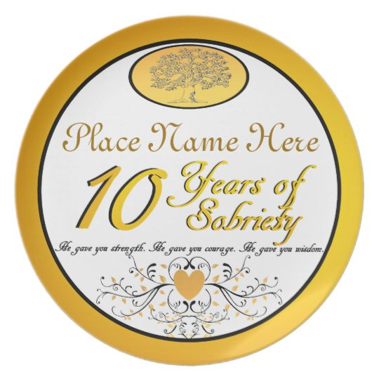 Personalised 10 Years of Sobriety Anniversary Plat Plate