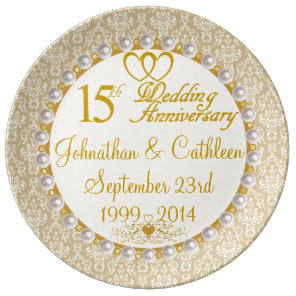 Personalised 15th Anniversary Porcelain Plate
