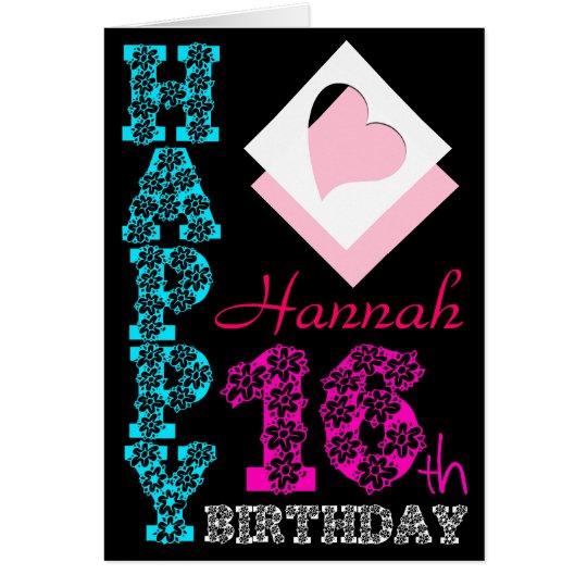 Personalised 16th Birthday Girly Black Greeting C Card