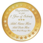 Personalised 1 Year Sobriety Display Plate