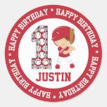 Personalised 1st Birthday Baseball Batter Red Round Stickers