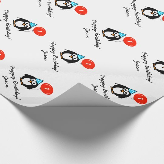 Personalised 1st Birthday penguin wrapping paper