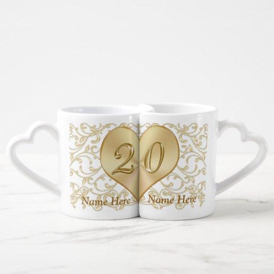 Personalised 20 Year Wedding Anniversary Gift Mugs