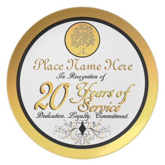 Personalised 20 Years of Service Plate/Plaque Plate