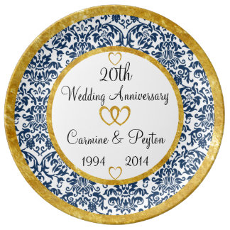 Personalised 20th Anniversary Porcelain Plate