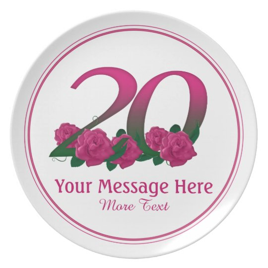 Personalised 20th customised text 20 flowers plate