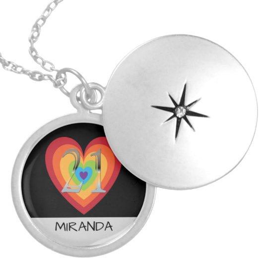 Personalised 21st Birthday | Rainbow Heart Name Locket
