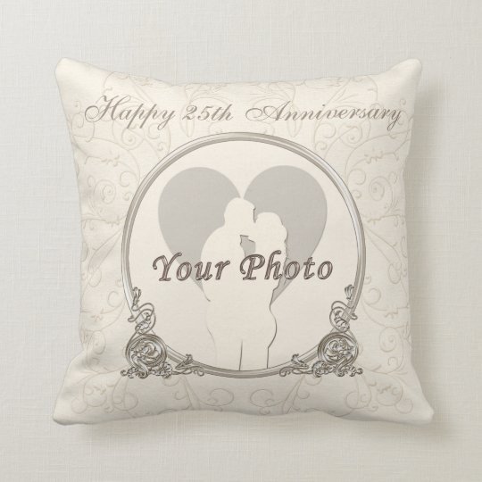 Personalised 25th Anniversary Gifts PHOTO and TEXT Cushion