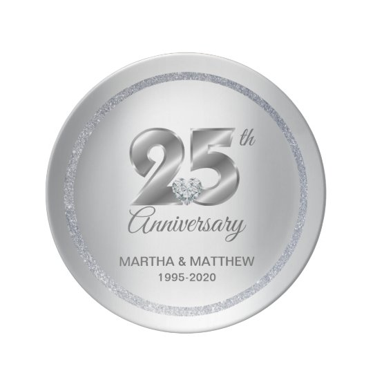 Personalised 25th Silver Wedding Anniversary Gift Plate Zazzle