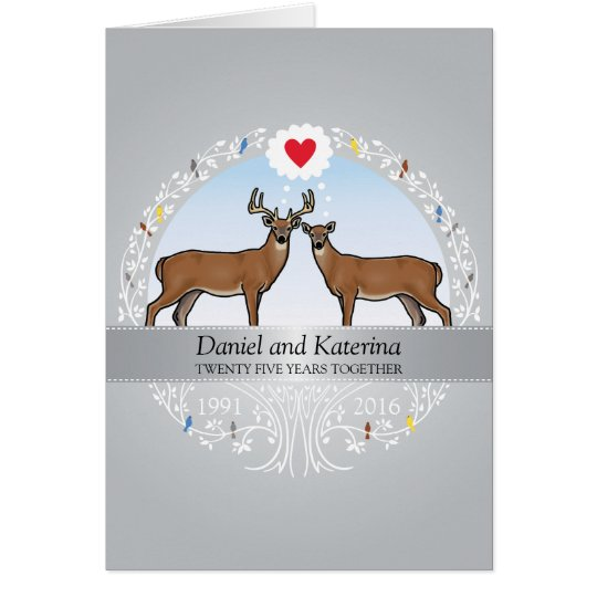 Personalised 25th Wedding Anniversary, Buck & Doe Card