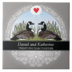 Personalised 25th Wedding Anniversary, Geese Tile