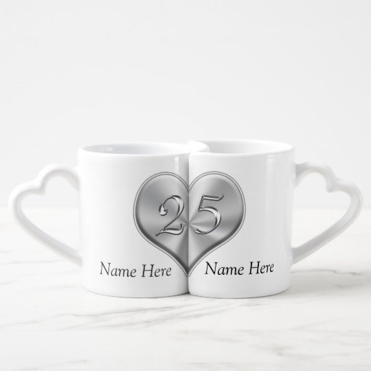 25th Wedding Anniversary Gifts.Personalised 25th Wedding Anniversary Gifts Coffee Mug Set