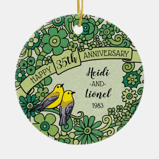 Personalised 35th Anniversary Jade Floral Birds Christmas Ornament