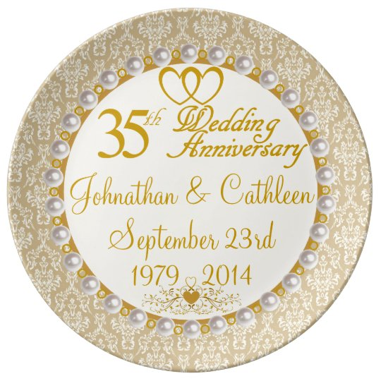 Personalised 35th Anniversary Porcelain Plate