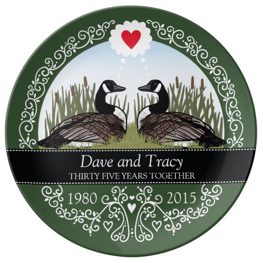 Personalised 35th Wedding Anniversary, Geese Porcelain Plates