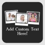 Personalised 3-Photo Snapshot Frames Custom Colour Square Sticker