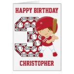Personalised 3rd Birthday Baseball Batter Red Greeting Card