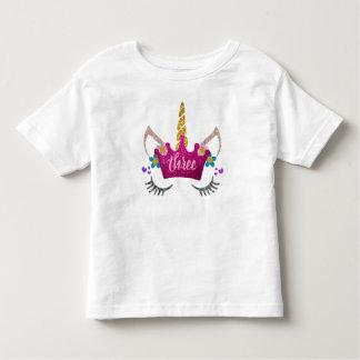 Personalised 3rd Birthday Crowned Unicorn Shirt