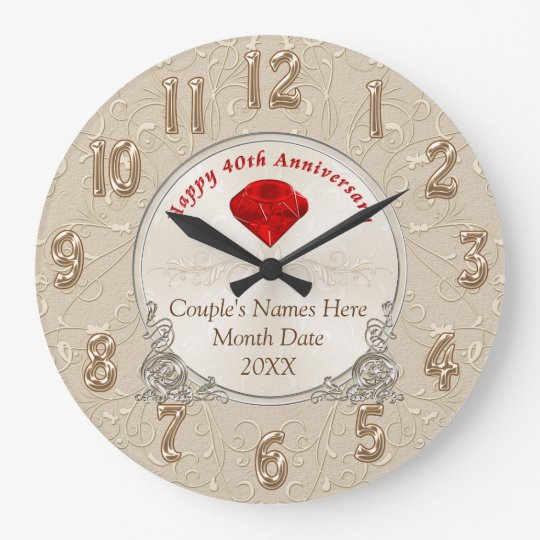 Personalised 40th Anniversary Gifts Ruby Large Clock