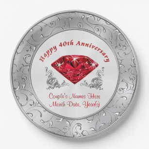 Personalised 40th Anniversary Paper Plates  sc 1 st  Zazzle & 40th Anniversary Plates | Zazzle.co.uk
