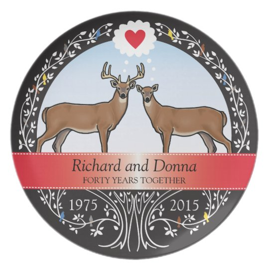 Personalised 40th Wedding Anniversary, Buck & Doe Plate