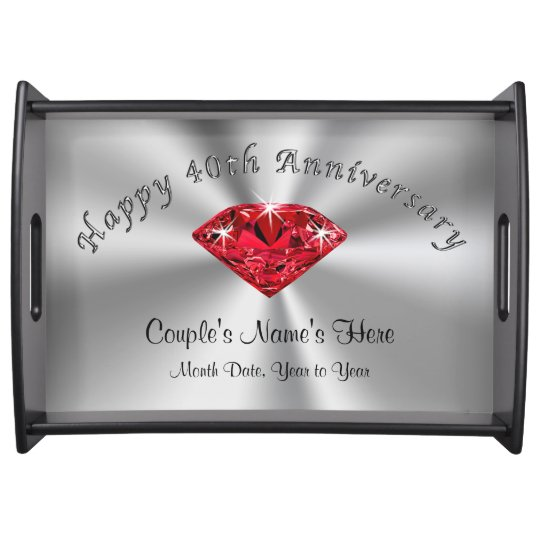 Personalised 40th Wedding Anniversary Gifts Tray Zazzle
