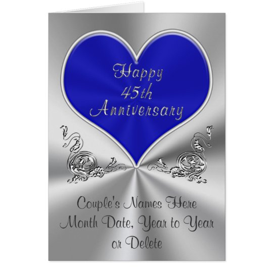 Personalised 45th Wedding Anniversary Card