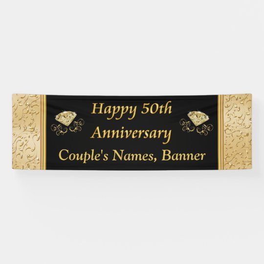 Personalised 50th Anniversary Banner, Black, Gold