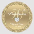 Personalised 50th Anniversary Wedding Gold Glitter Classic Round Sticker
