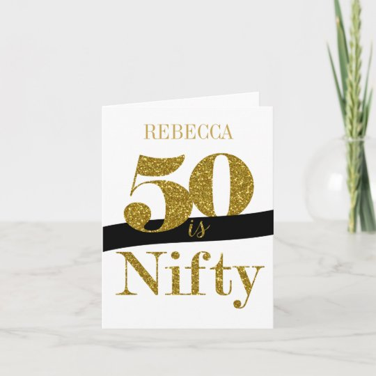 Personalised 50th Birthday Card In Gold Glitter