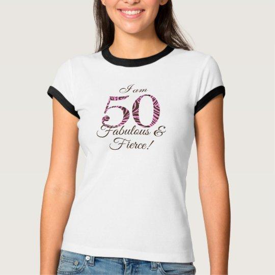 Personalised 50th Birthday Fabulous Fierce T Shirt