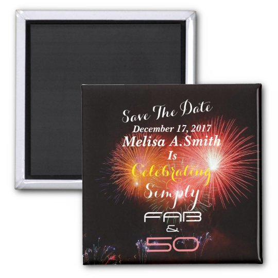 Personalised 50th Birthday Name & Date - Magnet