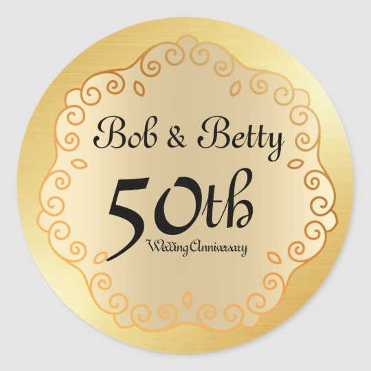 Personalised 50th Wedding Anniversary Gold Classic Round Sticker