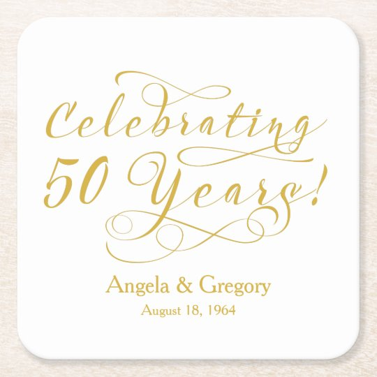 Personalised 50th Wedding Anniversary Gold White Square Paper