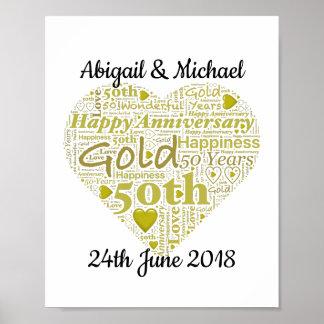 Personalised 50th Wedding Anniversary Word Art Poster